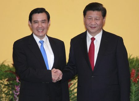 China-Taiwan, historic handshake between the two presidents