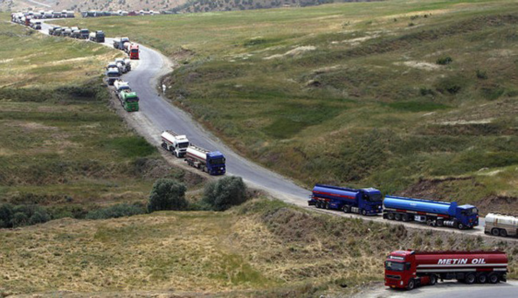 Caliphate trucks carrying oil to Turkey, and then reaching other NATO countries