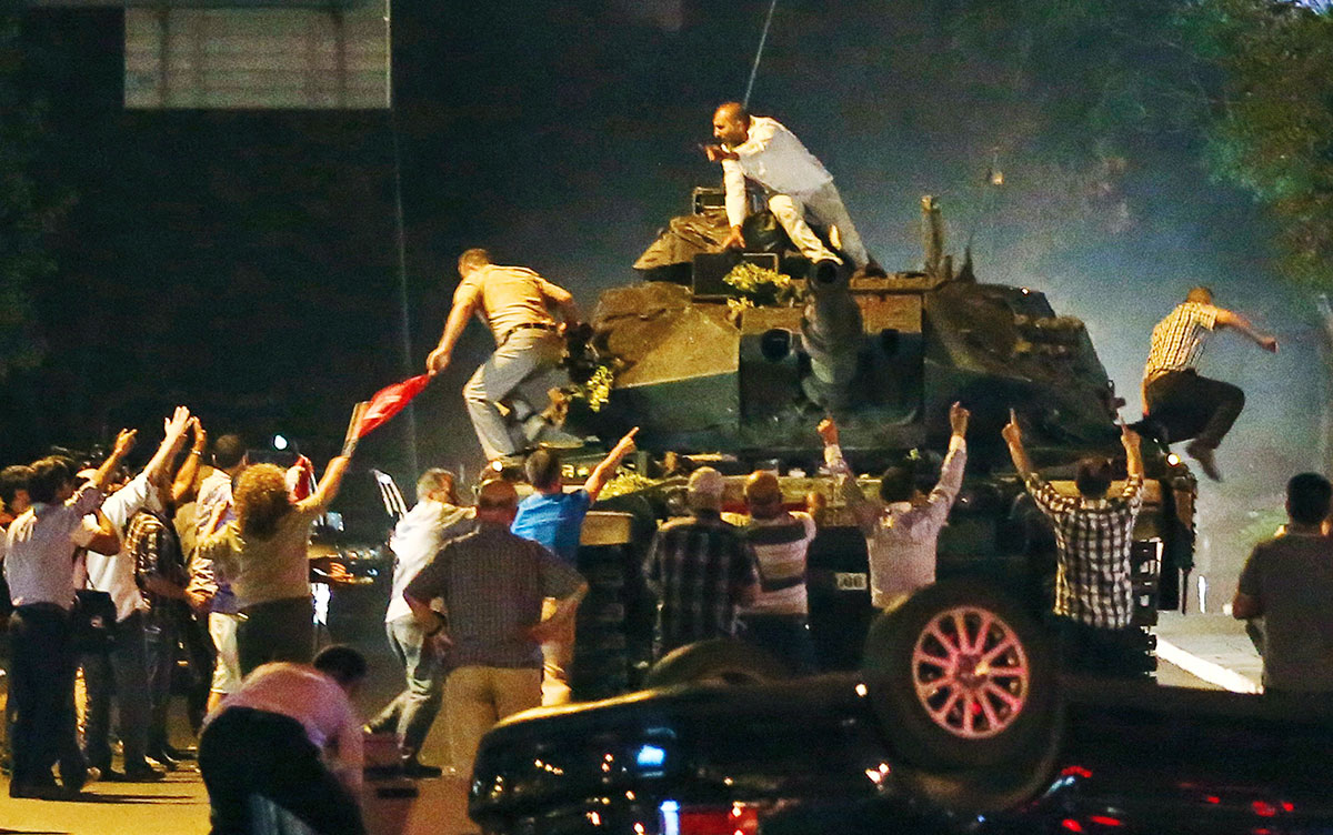 Thousands of people heeded a call from Erdogan to take to the streets and protest against the attempted coup.